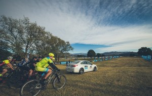Riders are led out of the start on day one of sani2c Adventure
