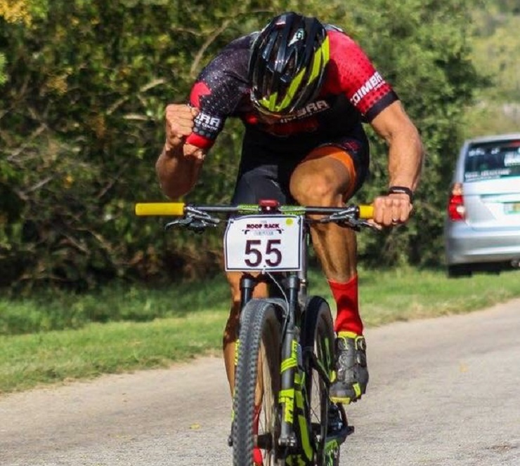 Steven Shirley pictured seconds after winning last year's Trans Elands MTB Marathon. Photo: Supplied