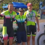 Tyronne White (middle) won the 45km feature of the Sugar Rush Classic in Ballito. Photo: facebook.com/ROAGSport/