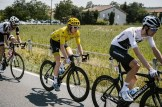 Team Sky's Geraint Thomas in yellow during stage 18 of the Tour de France
