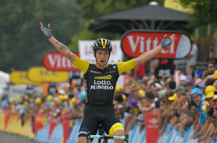 LottoNL-Jumbo's Primož Roglič got away on the final descent to solo to victory in stage 19 of the Tour de France today. Photo: ASO/Bruno Bade