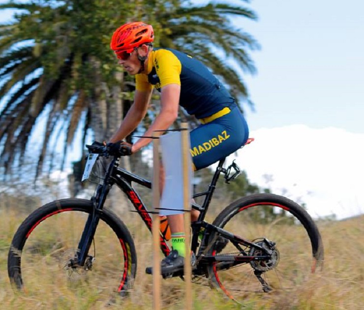 Hendre Terblanche and won the men's elite race of the third Madibaz MTB XCO Series event in George on Sunday. Photo: Charl Gerber Photography