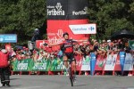 BMC Racing's Alessandro De Marchi came out on top in a two-man duel before soloing to victory in the 207.8km 11th stage of the Vuelta a Espana in Luintra today. Photo: Unipublic/Luis Ángel Gómez