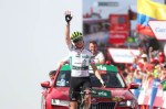 Dimension Data's Ben King won the 200km stage nine of the Vuelta a Espana in thrilling fashion on the summit of La Covatilla today. Photo: Unipublic/Luis Ángel Gómez