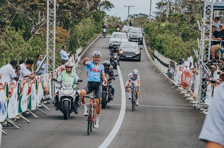 South Africa's Gustav Basson won the 120.6km third stage of the Tour de Maurice yesterday and with it he took the race lead. Photo: Daphney Dupre/Tour de Maurice