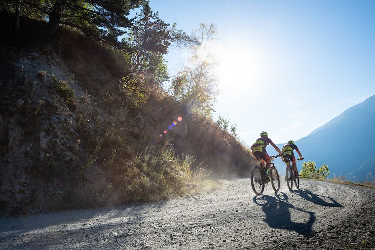 Hansueli Stauffer and Konny Looser won the 77km second stage of the Swiss Epic, which finished in Grachen today. Photo: Marius Maasewerd