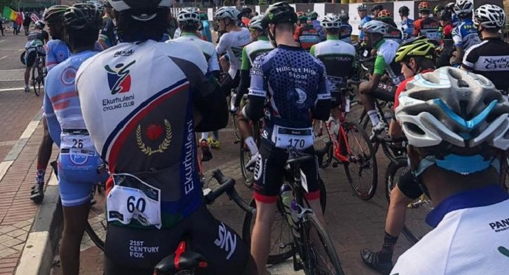 Riders pictured before the start of the 160km race of the Amashova Durban Classic today. Photo: Facebook/Gran Fondo World Tour