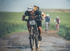 A rider moving through wet and muddy jeep tracks during stage one of the Berg and Bush 'Great Trek'. Photo: Em Gatland