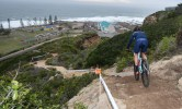 A rider beginning the descent of a steep and tricky descent during the prologue of the Cape Pioneer Trek. Photo: Zoon Cronje