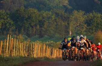 A bunch of riders labouring through on stage three of the Wines2Whales Chardonnay. Photo: Greg Beadle