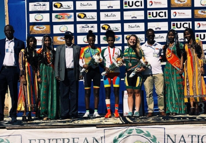 South Africa's Liezel Jordaan (right) finished third in the elite women's individual time-trial at the Africa Cup road tour today. Photo: Twitter/@ZXCycling