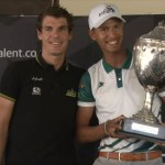Daryl Impey (left) handing over the trophy to the overall elite men's winner Jayde Julius at the Support SA Talent awards breakfast yesterday. Photo: Streamit360.tv