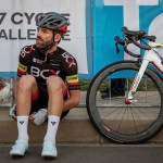 Steven van Heerden, who finished second, pictured sitting down and looking on at the 947 Cycle Challenge today. Photo: Telkom 947 Cycle Challenge