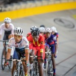 Young cyclists in action yesterday at the SA National Track Champs in the Bellville Velodrome. Photo: Owen Lloyd