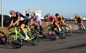 Riders moving along a bend during the criterium at the Festival of Cycling. Photo: East Cape Cycling