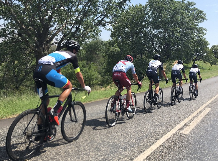 Riders in action during stage one of the Mpumalanga Tour today. Willie Smit is pictured second from the back. Photo: Twitter/@ForeverResortSA