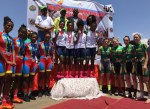 The elite women's team time-trial podium (from left) Eritrea (second), Ethiopia (first) and South Africa (third). Photo: Supplied