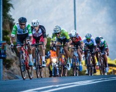 Jayde Julius (front) leading the breakaway group during the Cape Town Cycle Tour today. Photo: Chris Hitchcock