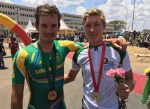 South Africa's Ryan Gibbons (left) and Stefan de Bod (right) finished third and first respectively in the elite men's ITT at the African Continental Road Champs in Bahir Dar, Ethiopia, today. Photo: Supplied