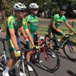 The three South African junior riders readying themselves before the African Continental Championships road race today. (From left) Tiano Da Silva, Dian Fritz and Damon Fouchee. Photo: Supplied