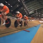 Team Netherlands in action during day one's men team sprint at the Track Cycling World Championships a couple of days ago. Photo: UCI/Facebook