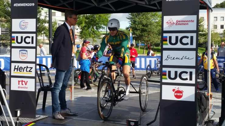 Goldy Fuchs placed ninth in the MT2 race at the Para-cycling Road World Championships