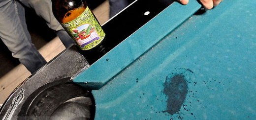 beer spilled on table