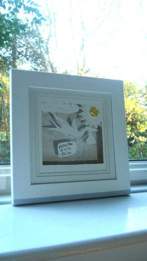 New baby papercut in box frame