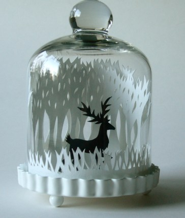 Winter Woods & Reindeer papercut bell jar close up