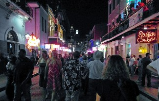 Just another busy night along Bourbon Street.