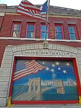 A Brooklyn fire station located just across the Brooklyn Bridge.