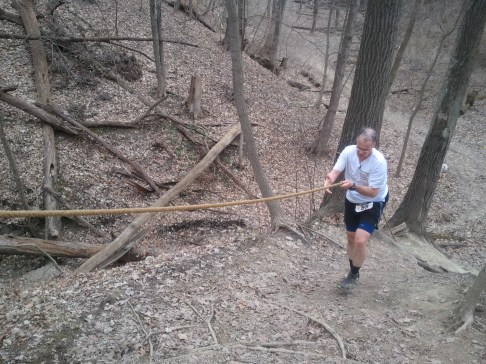 Barb shot this photo of me starting the climb of Golf Hill in the Potawatomi Trail 50 mile run. I skipped the ropes the first two or three times through, but by laps 4 and and 5, the ropes seemed to help. Note to self: Wear a hat when someone's shooting from above.