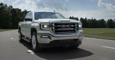 "GMC's best-selling truck has great momentum, coming off its best June since 2006, and 12 consecutive months of year-over-year sales gains.  With exterior styling as its top reason for purchase, the new truck adds key design elements: LED ""C-shaped"" signature daytime running lights and LED headlights; new front fascia and grilles for each trim level; new LED fog lamps; new bumpers; and new ""C-shaped"" LED taillights. The new Sierra will be available in the fourth quarter of this year, with additional details and information on the new model released in the coming months. © General Motors."