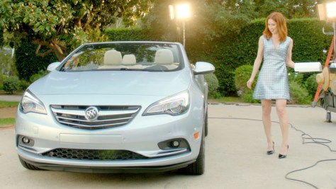 """Ellie Kemper introduces herself to the Buick Cascada convertible in """"Meet the Talent,"""" a new digital advertisement. © General Motors."""