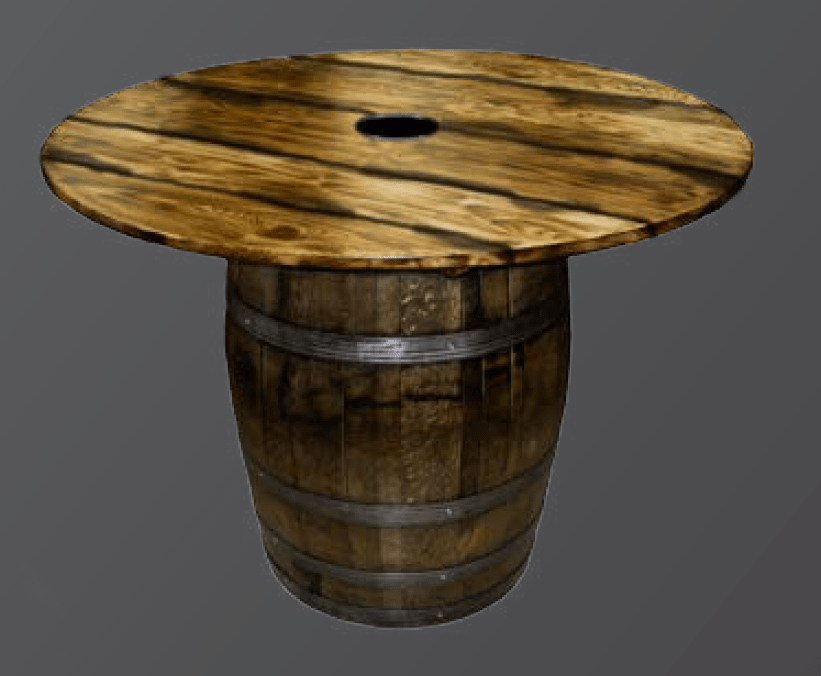 Whiskey Barrel Table  In the Event