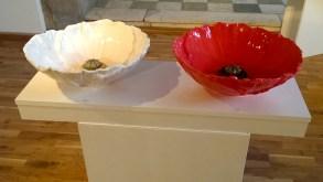 White and Red Poppy wash hand basins