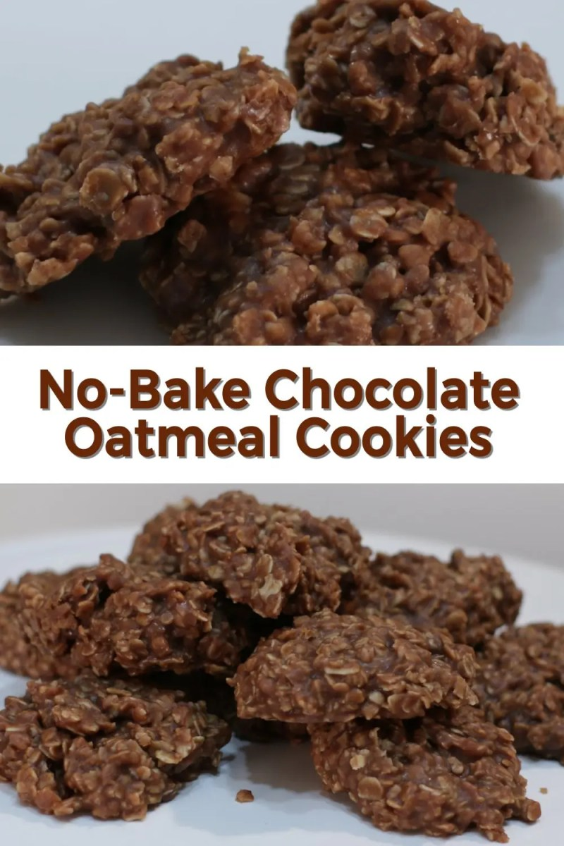 No-bake chocolate oatmeal cookies two angles of cookies on a white plate