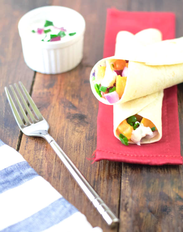 Sweet potato and rajma tortilla wraps