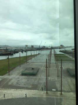 View of the busy shipyard and Titanic's birthplace.