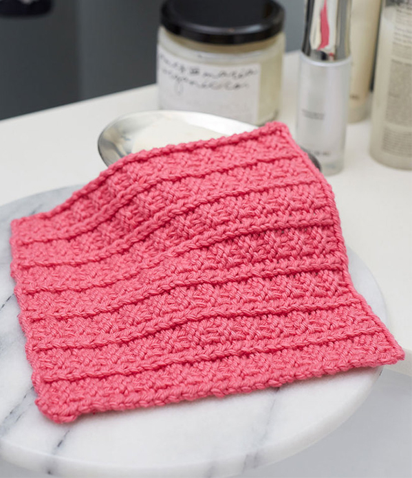 Free Knitting Pattern for Easy 4 Row Repeat Sailor's Rib Stitch Washcloth