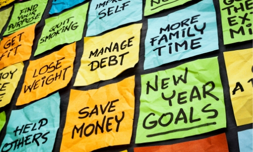 post its with goals written down