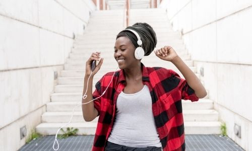 Woman listening to gospel music