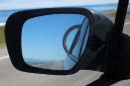 Hinterrad im Rückspiegel, alles gut