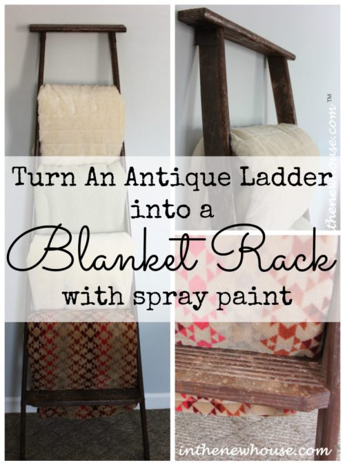 Turn an antique ladder into a blanket rack with spray paint