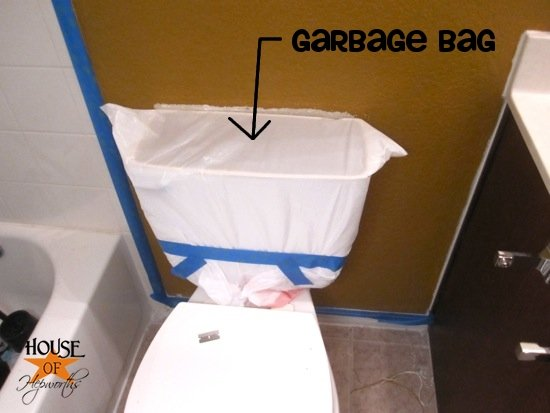 Trash bag over toilet tank