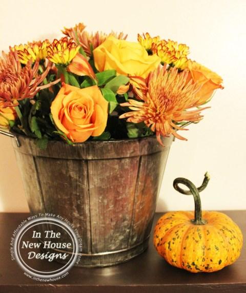 Fall Floral Arrangement in Metal Bucket