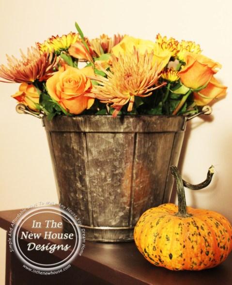 Fall Flowers in Metal Bucket