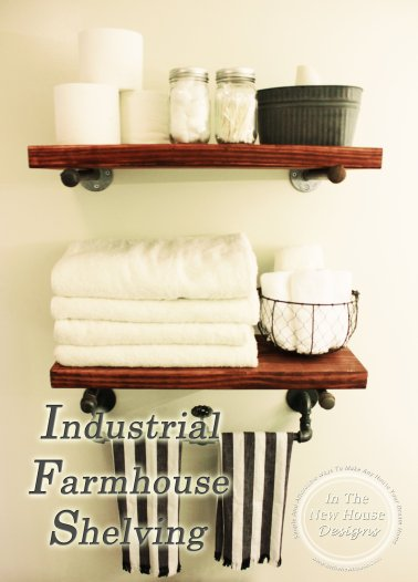 How to build industrial farmhouse shelving using plumbing pipes via In The New House Designs