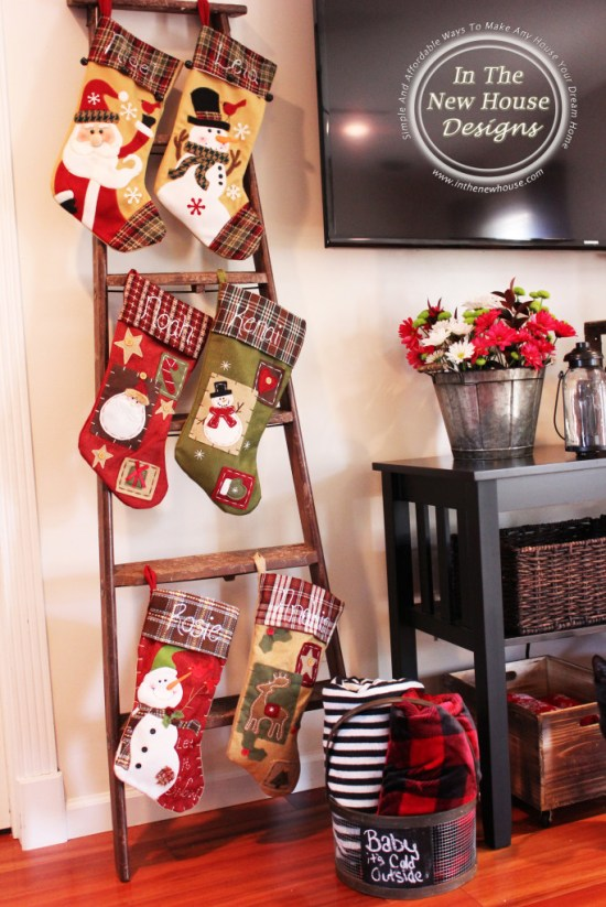 Vintage Ladder for holding stockings when you don't have a mantel