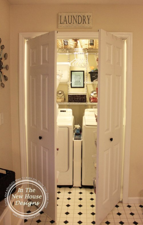Small laundry closet with converted bifold doors